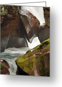 Canyon Walls Greeting Cards - Avalanche Gorge Whitewater in Glacier National Park 1.1 Greeting Card by Bruce Gourley