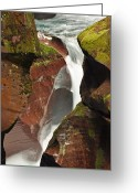 Canyon Walls Greeting Cards - Avalanche Gorge Whitewater in Glacier National Park Greeting Card by Bruce Gourley