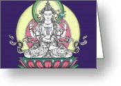 Iconography Drawings Greeting Cards - Avalokiteshvara Greeting Card by Carmen Mensink