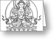 Iconography Drawings Greeting Cards - Avalokiteshvara -Chenrezig Greeting Card by Carmen Mensink