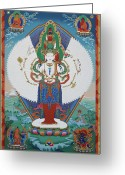 Thanka Greeting Cards - Avalokiteshvara Lord of Compassion Greeting Card by Sergey Noskov