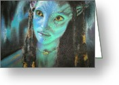Blues Pastels Greeting Cards - Avatar Greeting Card by Lori Ippolito