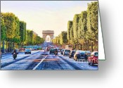 Champs Elysees Greeting Cards - Ave des Champs Elysees Greeting Card by Chuck Kuhn