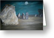 Stone Pastels Greeting Cards - Avebury Stone Circle Greeting Card by Tracey Mitchell