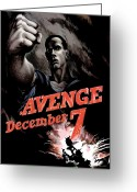 Usn Greeting Cards - Avenge December 7th Greeting Card by War Is Hell Store