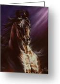 Horses Pastels Greeting Cards - Avenger Greeting Card by Kim McElroy