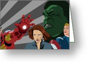 Thor Digital Art Greeting Cards - Avengers Assemble Greeting Card by Lisa Leeman