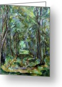 Tree Allee Greeting Cards - Avenue at Chantilly Greeting Card by Paul Cezanne