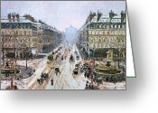 Snowing Greeting Cards - Avenue de lOpera - Effect of Snow Greeting Card by Camille Pissarro