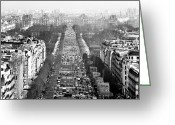 Champs Elysees Greeting Cards - Avenue des Champs-Elysees Greeting Card by John Rizzuto