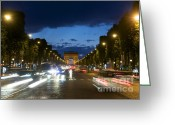 Night Time Greeting Cards - Avenue des Champs Elysees. Paris Greeting Card by Bernard Jaubert
