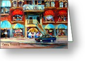 Resto Cafes Greeting Cards - Avenue Du Parc Cafes Greeting Card by Carole Spandau