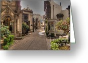 Burials Greeting Cards - Avenue of Mausoleums Greeting Card by Deborah Smolinske
