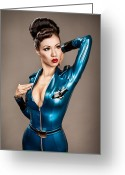 Latex Greeting Cards - Aviator Vixen 1176 Greeting Card by Gary Heller