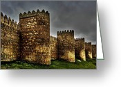 Grey Clouds Greeting Cards - Avila - Town Walls Greeting Card by Juergen Weiss