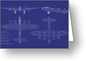 Airplane Greeting Cards - Avro Lancaster Bomber Blueprint Greeting Card by Michael Tompsett
