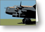 Vintage Aircraft Greeting Cards - Avro Lancaster Bomber Greeting Card by Michael Tompsett