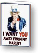 I Want You Greeting Cards - Away From My Harley Greeting Card by Paul Van Scott