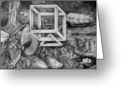 Fantastic Realism Greeting Cards - Axis Mundi Greeting Card by Otto Rapp