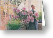 Greenhouse Greeting Cards - Azalea Greeting Card by Carl Larsson