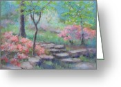 Stone Pastels Greeting Cards - Azalea Garden Greeting Card by Julie Mayser