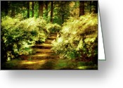 Light Green Digital Art Greeting Cards - Azalea Stairs Greeting Card by Lois Bryan