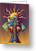 Evening Scenes Digital Art Greeting Cards - Aztec Cross Sun Temple Greeting Card by Waylan Loyd