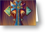 Evening Scenes Digital Art Greeting Cards - Aztec Cross Temple Greeting Card by Waylan Loyd