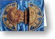Multicultural Greeting Cards - Aztec Generations Mask Greeting Card by Debbie  Diamond