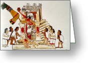 Mesoamerican Greeting Cards - Aztec Human Sacrifice, Codex Greeting Card by Photo Researchers