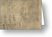 Historical Document Greeting Cards - Aztec Map, 16th Century Greeting Card by Library Of Congress, Geography And Map Division