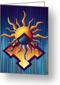 Sunny Days Greeting Cards - Aztec Orange Greeting Card by Waylan Loyd