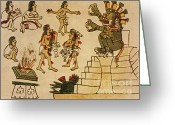 Mesoamerican Greeting Cards - Aztec Priests Appease Mictlantecuhtli Greeting Card by Photo Researchers