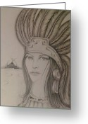 Pyramid Drawings Greeting Cards - Aztec Princess Greeting Card by  Rene Nava