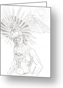 Pyramid Drawings Greeting Cards - Aztec Warrior In Front Of Chicchen Itza Greeting Card by Americo Salazar