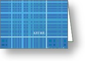 Rectangles Greeting Cards - Azure Blue Abstract Greeting Card by Frank Tschakert