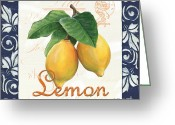 Navy Painting Greeting Cards - Azure Lemon 1 Greeting Card by Debbie DeWitt