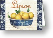Navy Painting Greeting Cards - Azure Lemon 3 Greeting Card by Debbie DeWitt