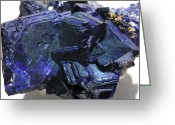 Azure Blue Greeting Cards - Azurite Crystals Greeting Card by Dirk Wiersma