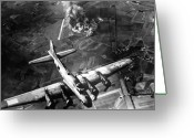 Flight Greeting Cards - B-17 Bomber Over Germany  Greeting Card by War Is Hell Store