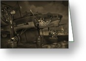 Gunship Greeting Cards - B - 17 Field Maintenance  Greeting Card by Mike McGlothlen