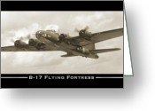 Air Digital Art Greeting Cards - B-17 Flying Fortress Greeting Card by Mike McGlothlen