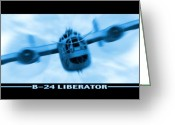 Split Greeting Cards - B-24 Liberator Greeting Card by Mike McGlothlen