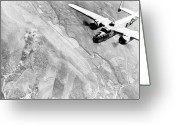 United States Military Greeting Cards - B-25 Bomber Over Germany Greeting Card by War Is Hell Store