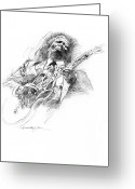 Music Icon Greeting Cards - B B KING and LUCILLE Greeting Card by David Lloyd Glover