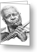 Famous People Drawings Greeting Cards - B B King Greeting Card by Murphy Elliott