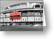 Wrigley Field Greeting Cards - B-W Wrigley Greeting Card by David Bearden