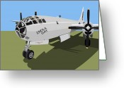 Blue Sky Greeting Cards - B29 Superfortress Greeting Card by Michael Tompsett