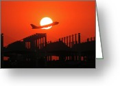 Sundown Greeting Cards - B747 Sunset Take-Off Greeting Card by Graham Taylor