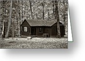 Babcock Greeting Cards - Babcock Cabin sepia Greeting Card by Steve Harrington